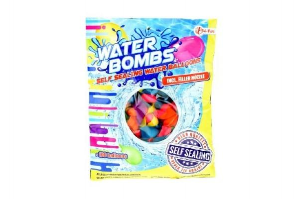 Vodní bomby +/-100ks se samotěsnícím úzávěrem a nástavcem na kohoutek v sáčku