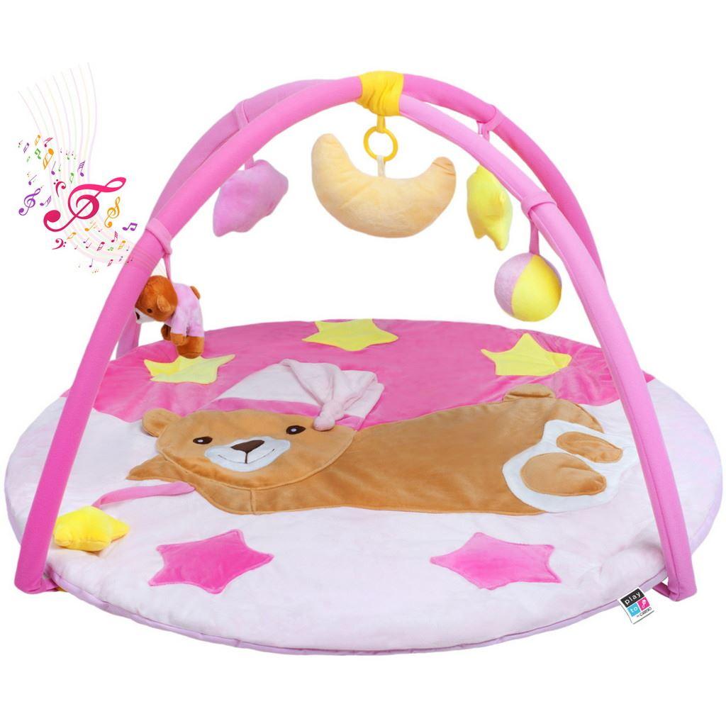 Levně Hrací deka s melodií PlayTo spící medvídek růžová