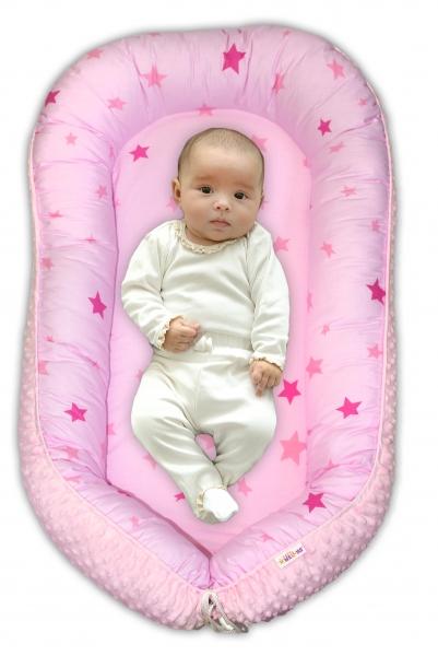Levně Maxi oboustranné hnízdečko s minky pro miminko Baby Stars růžové, sv.růžová minky