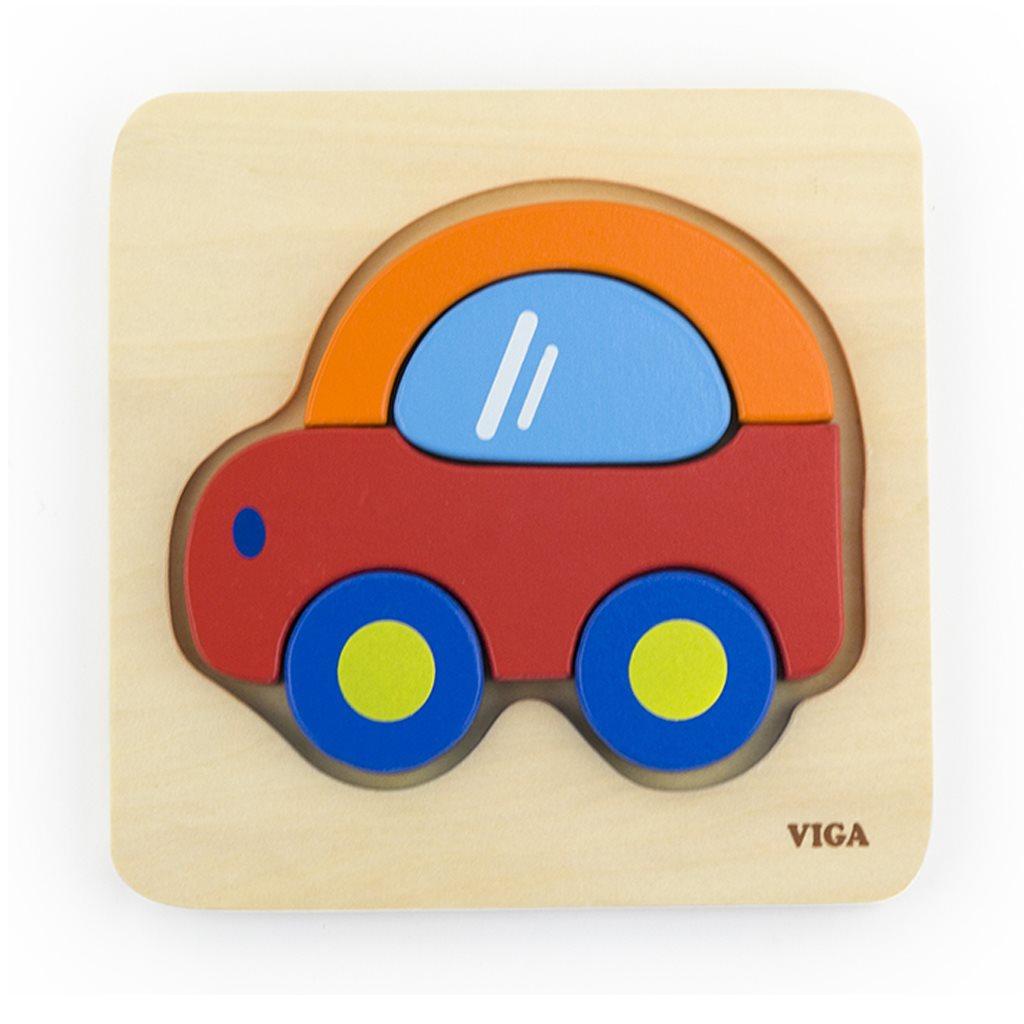 Dřevěné puzzle pro nejmenší Viga Auto | Velikost: