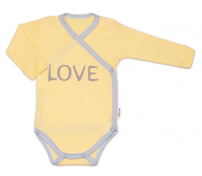 Levně Baby Nellys Body dlouhý rukáv Love - zapínání bokem, žluté | Velikost koj. oblečení: 74 (6-9m)