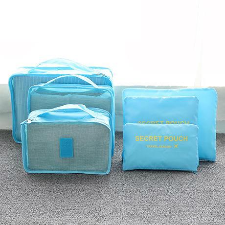 Praktické cestovní tašky - sada organizérů na cesty 6ks - světle modrá