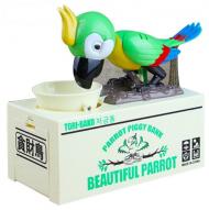 Dětská pokladnička papoušek - Zelená + poštovné jen za 1 Kč