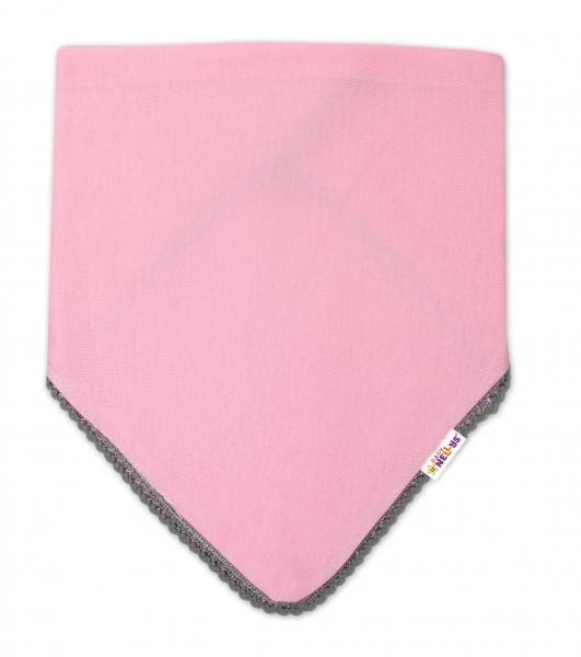 Dětský bavlněný šátek na krk s mini bambulkami Baby Nellys - růžový/šedý lem