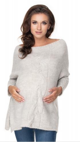 Be MaaMaa Volný těhotenský svetr světle šedý - vzor pletený cop   Velikosti těh. moda: UNI