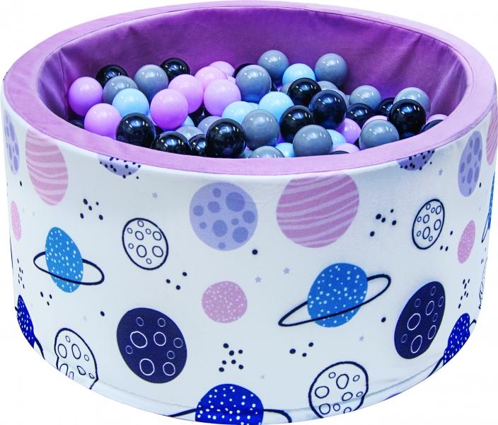 Bazén pro děti 90x40cm - planety, růžový s balónky, D19