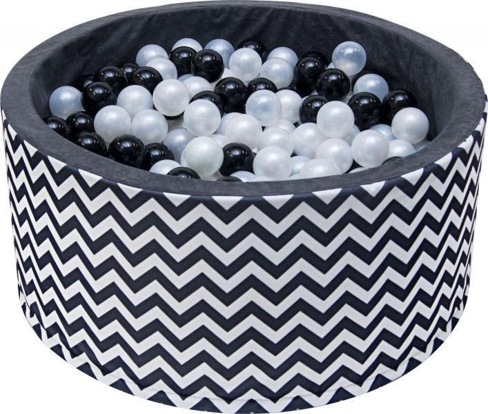 Bazén pro děti 90x40cm - zig zag černobílý s balónky, D19