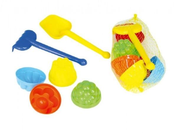 Sada na písek plast lopatka, hrabičky, 4ks bábovky v síťce