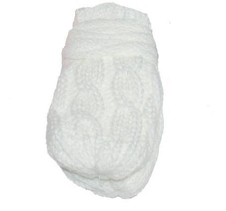 BABY NELLYS Zimní pletené kojenecké rukavičky se vzorem - bílé | Velikost koj. oblečení: 0-1rok