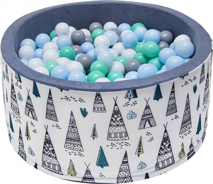 Bazén pro děti 90x40cm - týpí, šedý s balónky, D19