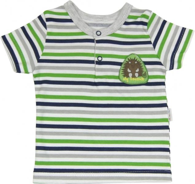 Levně Bavlněné Polo tričko Medvídek proužek - krátký rukáv - Velikost koj. oblečení: 74 (6-9m)
