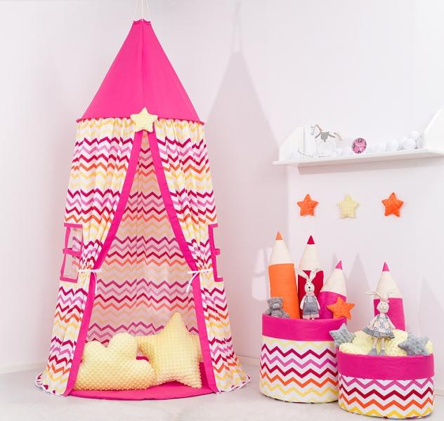Stan pro děti, závěsný stan - barevný cik cak / malina
