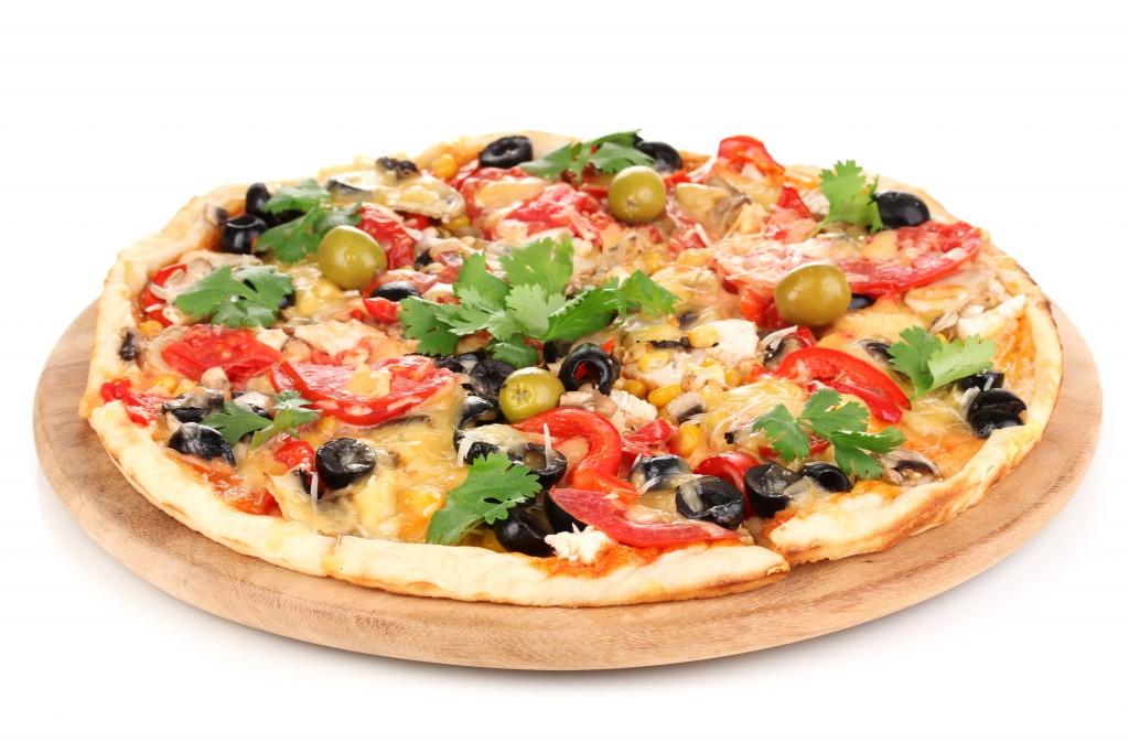 800g 4 stagione (pz., šunka, saláma, šampiňóny, syr, olivy)