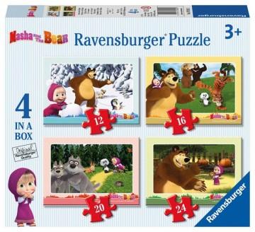 Ravensburger Puzzle 4 v 1 Máša a medveď 24 dielikov