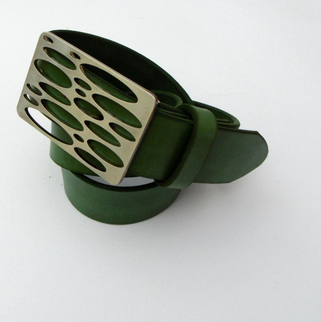 Opasek 38 zelený se elipsovou nerezovou sponou