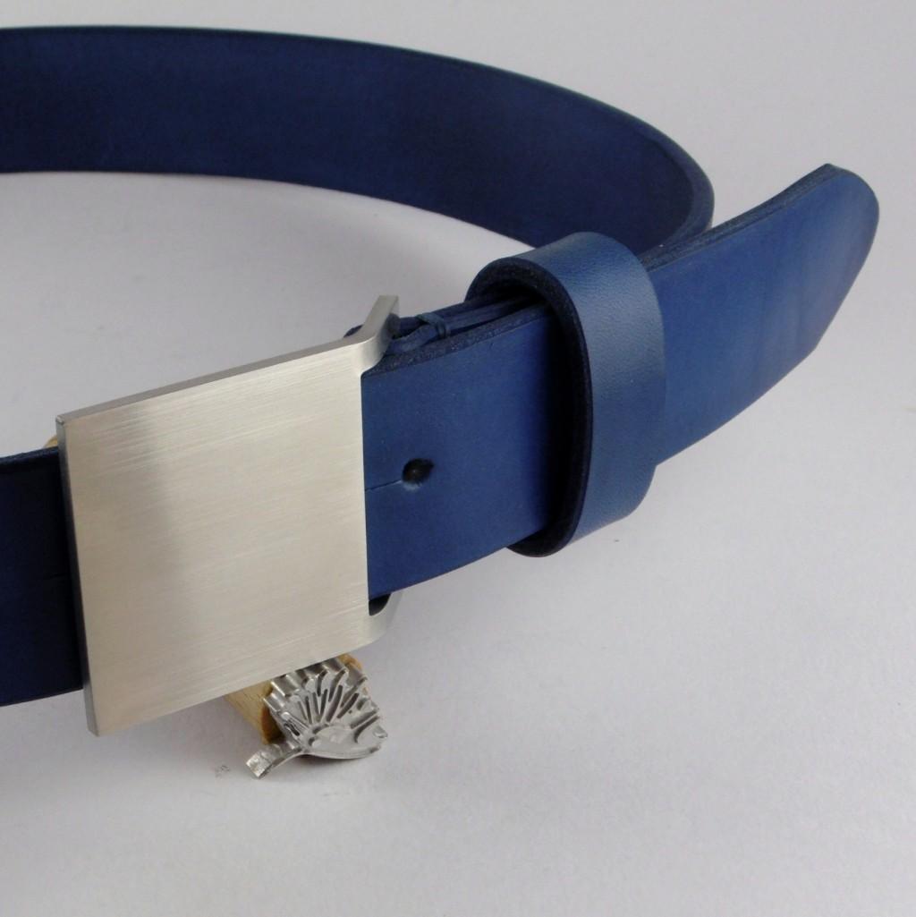 Opasek 38 modrý s menší nerezovou sponou