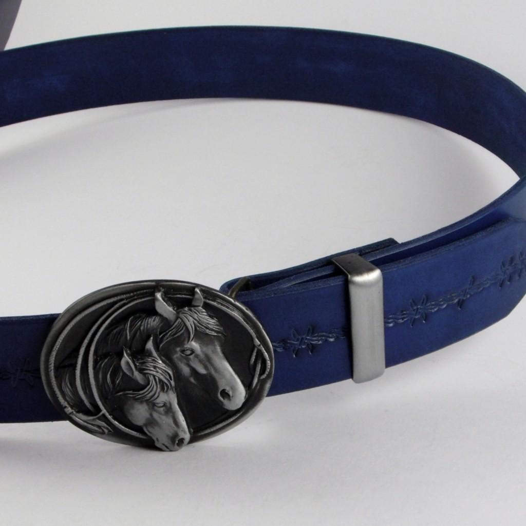 Opasek 38 koňský modrý s drátem