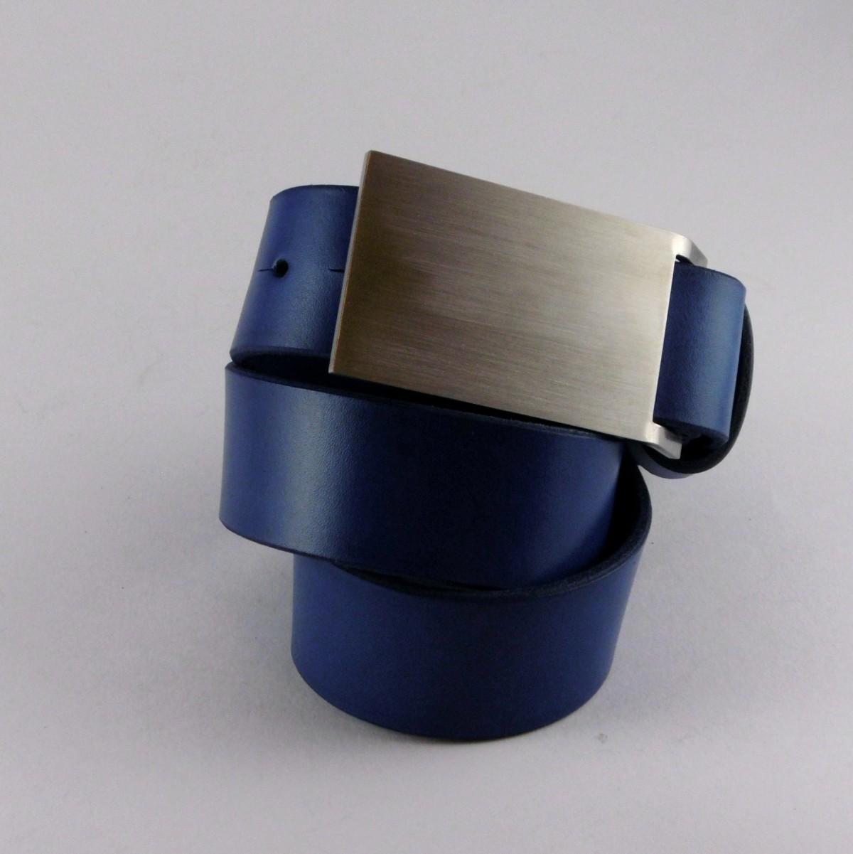 Opasek 38 modrý s větší nerezovou sponou