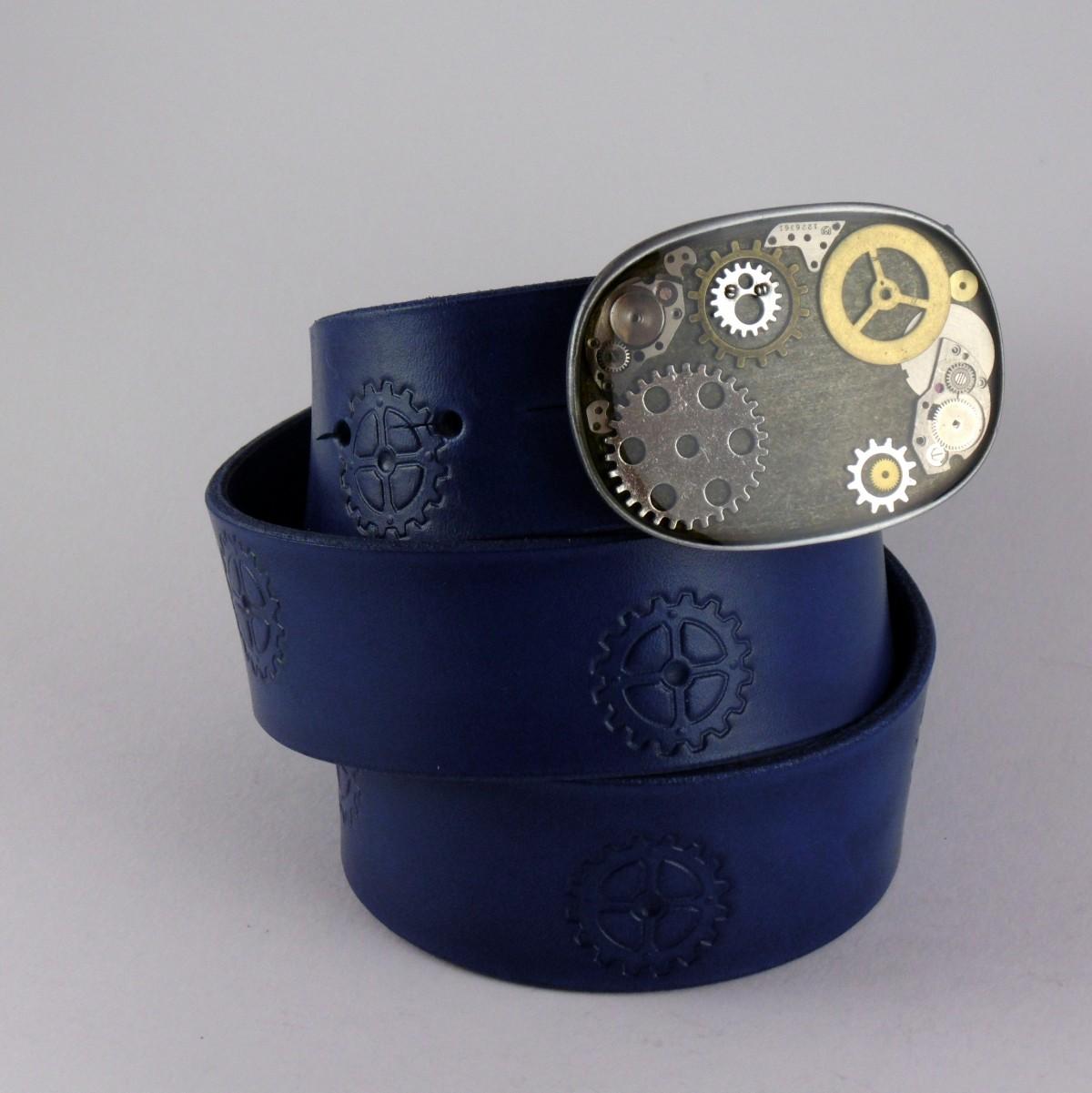 Opasek 38 Steampunk s kolečky modrý
