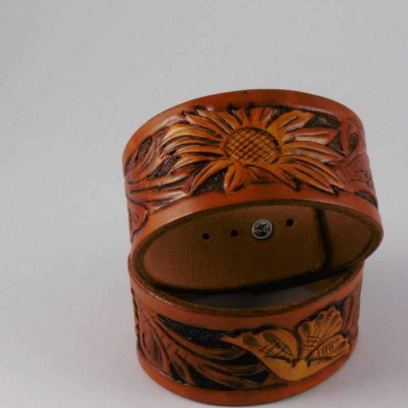 Kožený náramek floral kopretina 38 x 230 medový