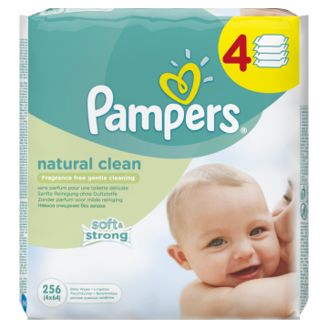 Ubrousky PAMPERS Natural Clean 4 x 64 ks