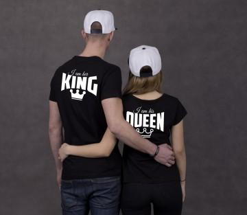 Čierne tričká Her king & His queen, potlač vzadu i vpredu (cena za obidve tričká)