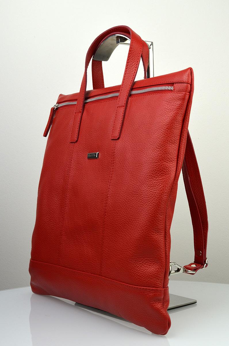 Dámská kožená kabelka FACEBAG FLAVIA - Červená