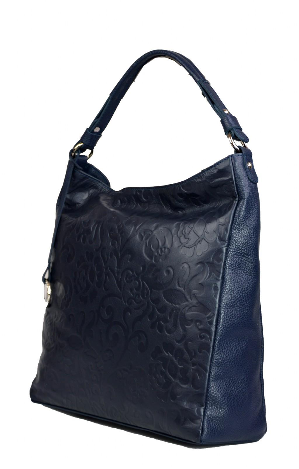 Dámská kožená kabelka FACEBAG  ELIA - Modrá se vzorem květin