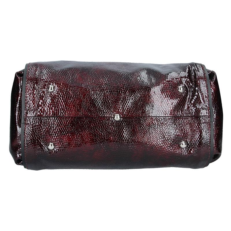 Dámská kožená kabelka FACEBAG MONA - Had vínová