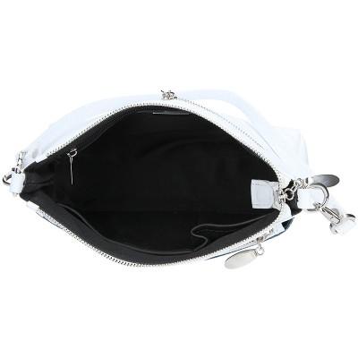Dámská kožená kabelka FACEBAG ADA - Modrá perfor + bílá