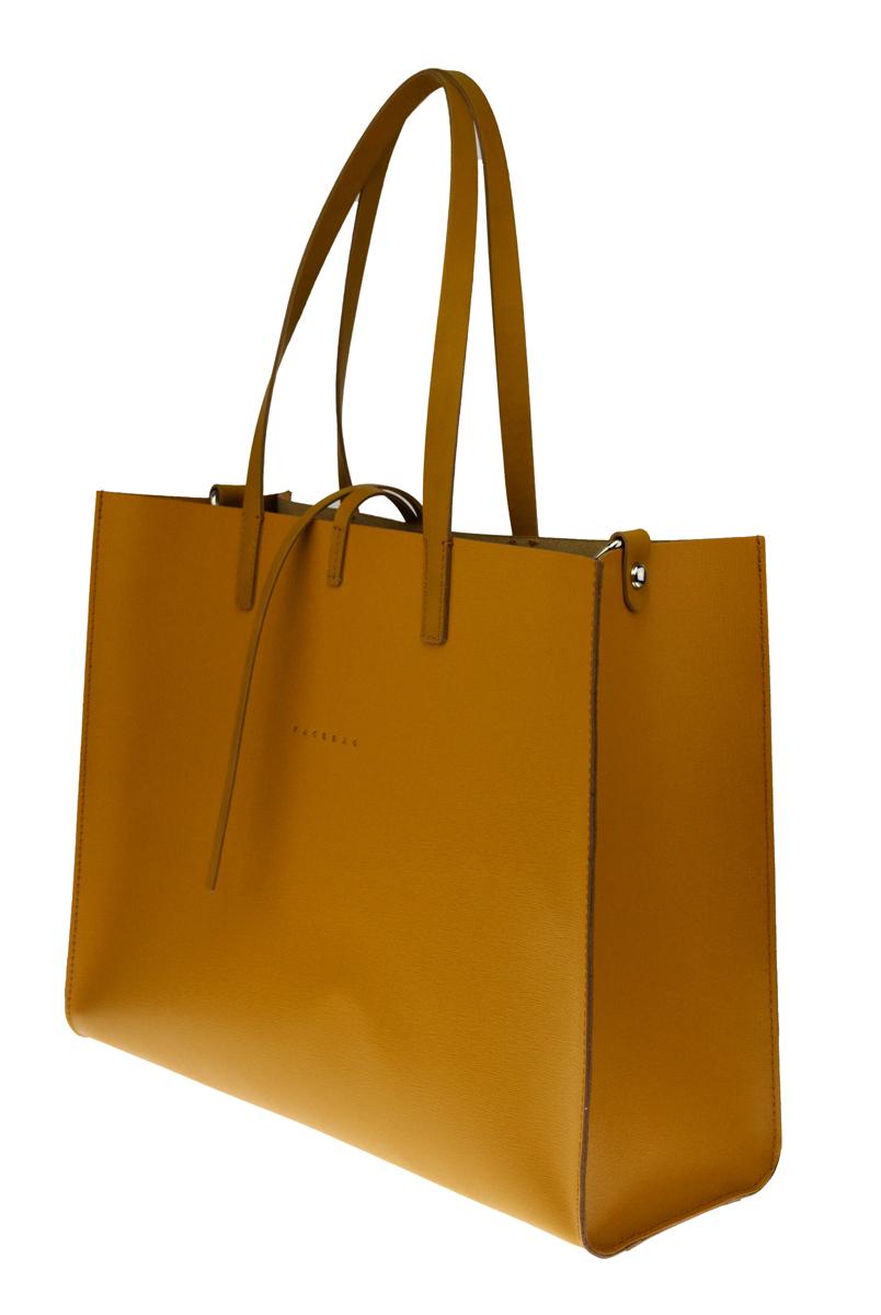 Dámská kožená kabelka FACEBAG 2v1 CHERI 1 - Tmavá žlutá