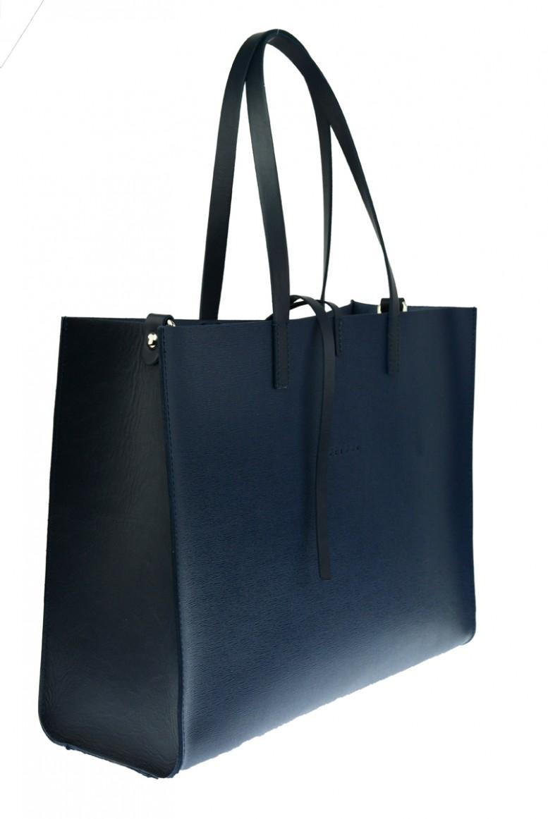 Dámská kožená kabelka FACEBAG CHERI - Tmavá modrá