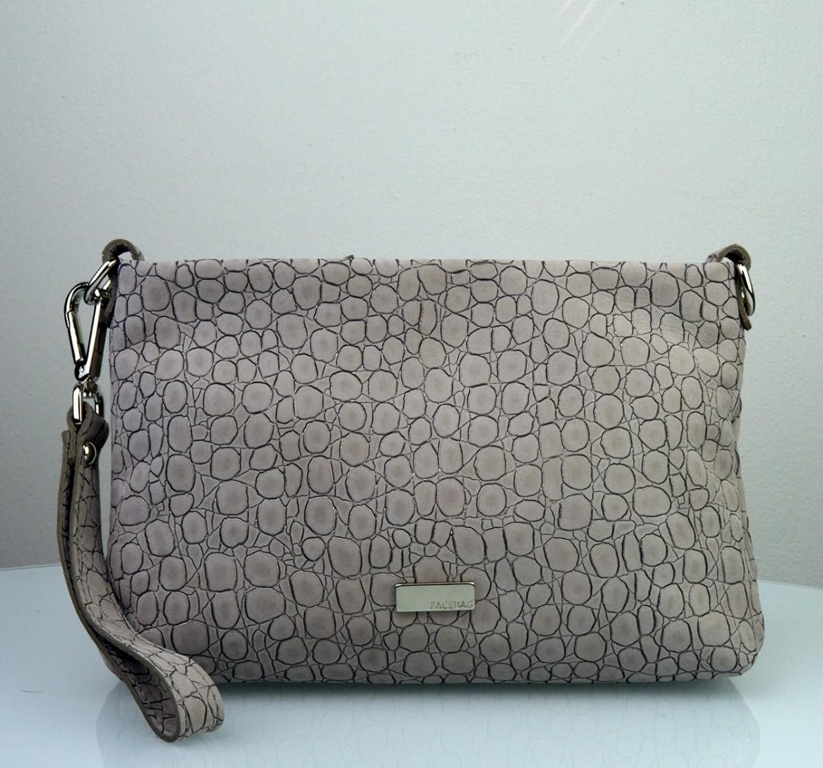 Dámská kožená kabelka FACEBAG MAXA -Pudrová se vzorem