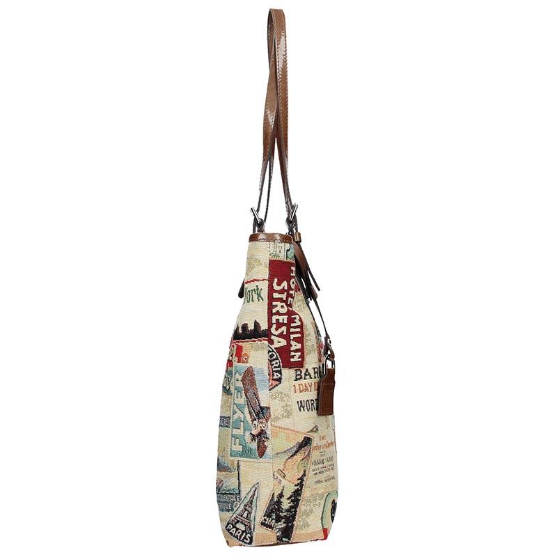 Dámská látková kabelka FACEBAG VICTORIA - Safari žluto - hnědá látka + kůže