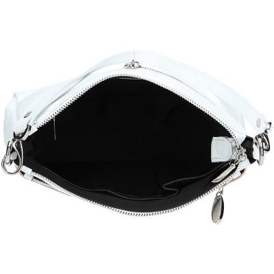 Dámská kožená kabelka FACEBAG ADA - Metalický pudr + bílá