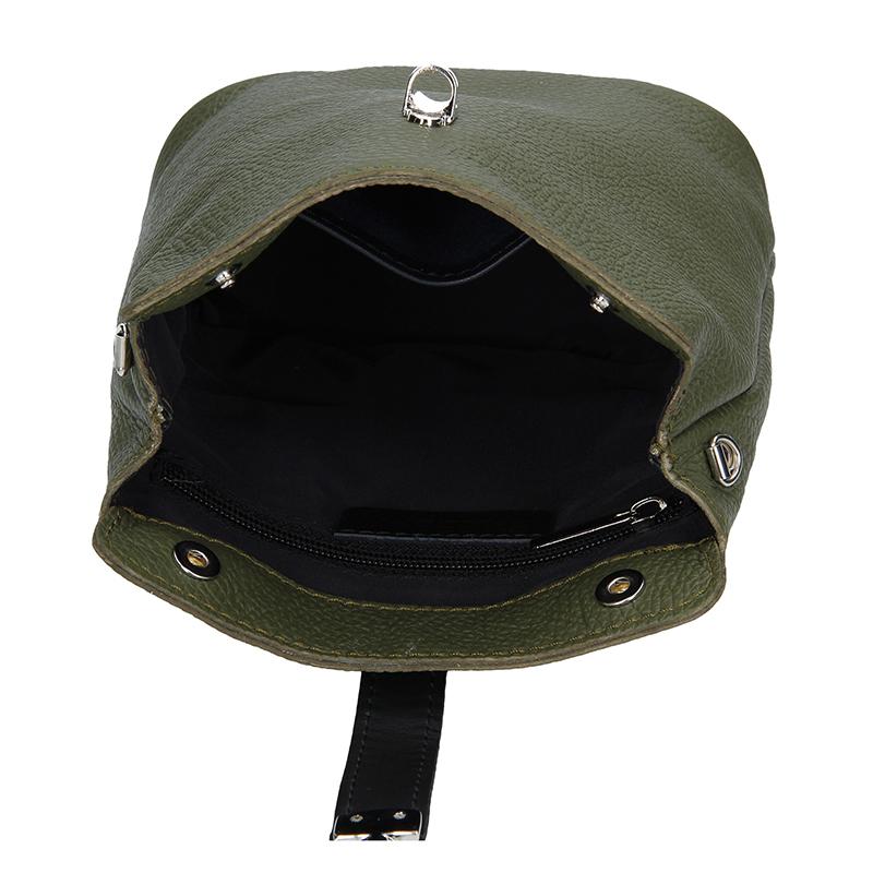Dámská kožená kabelka FACEBAG ANNA S. - Tmavá zelená + černá