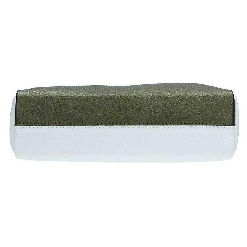 Dámská kožená kabelka ADA - bílá + zelená