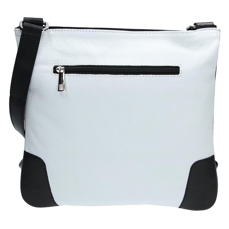 Dámská kožená kabelka FACEBGA ANDY - Bílá + černá