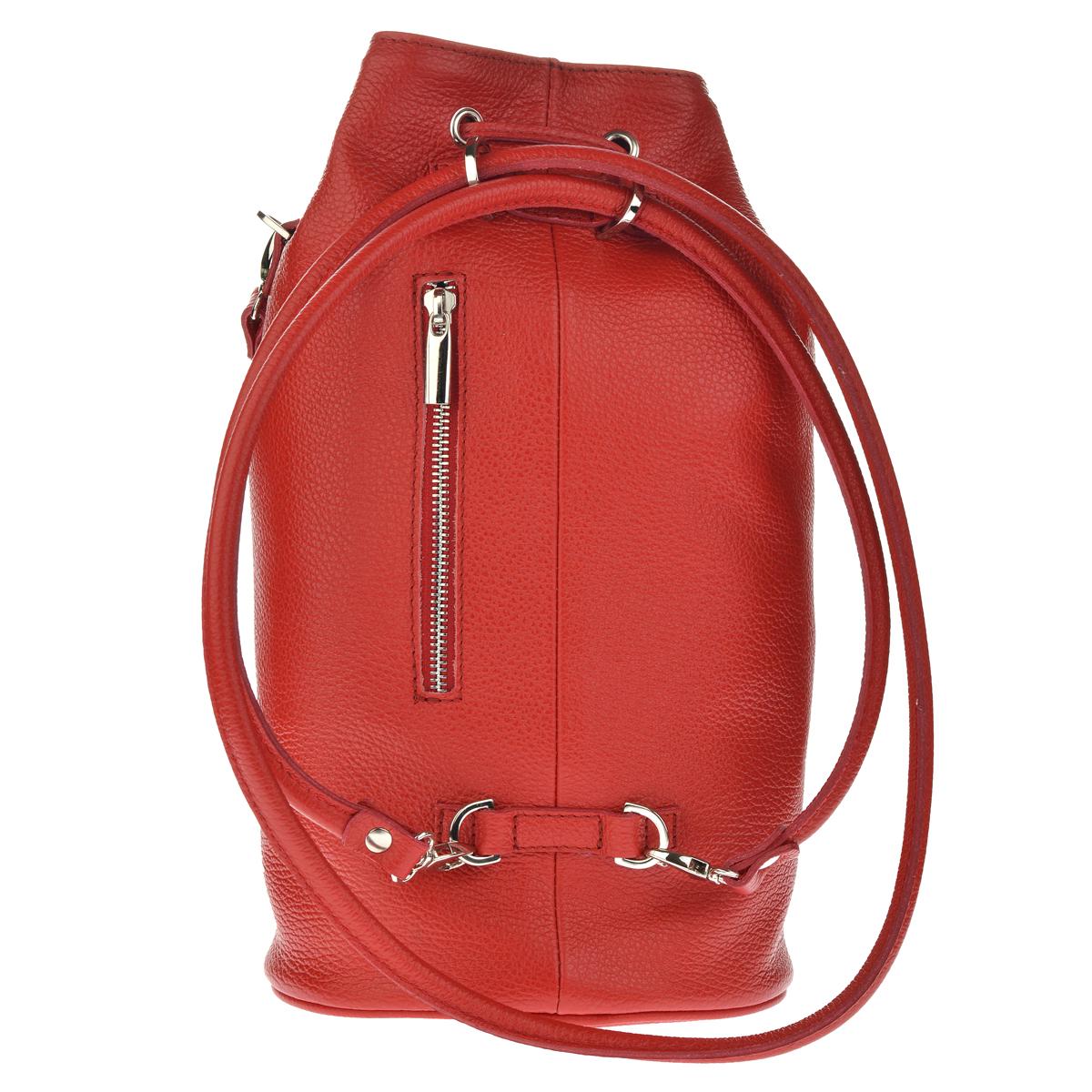 Dámský kožený batoh FACEBAG SUZANNE - Červená