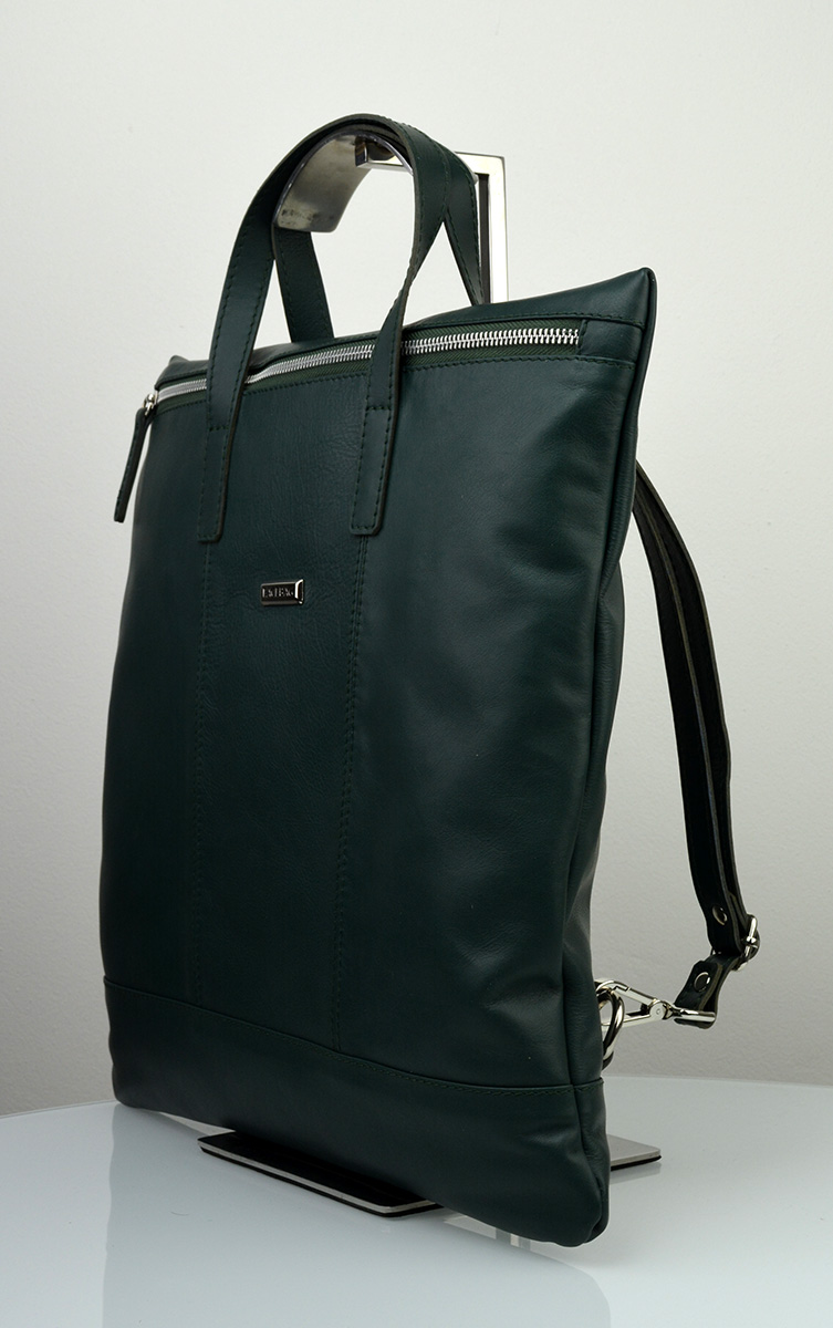 Dámská kožená kabelka FACEBAG FLAVIA - Temná zelená