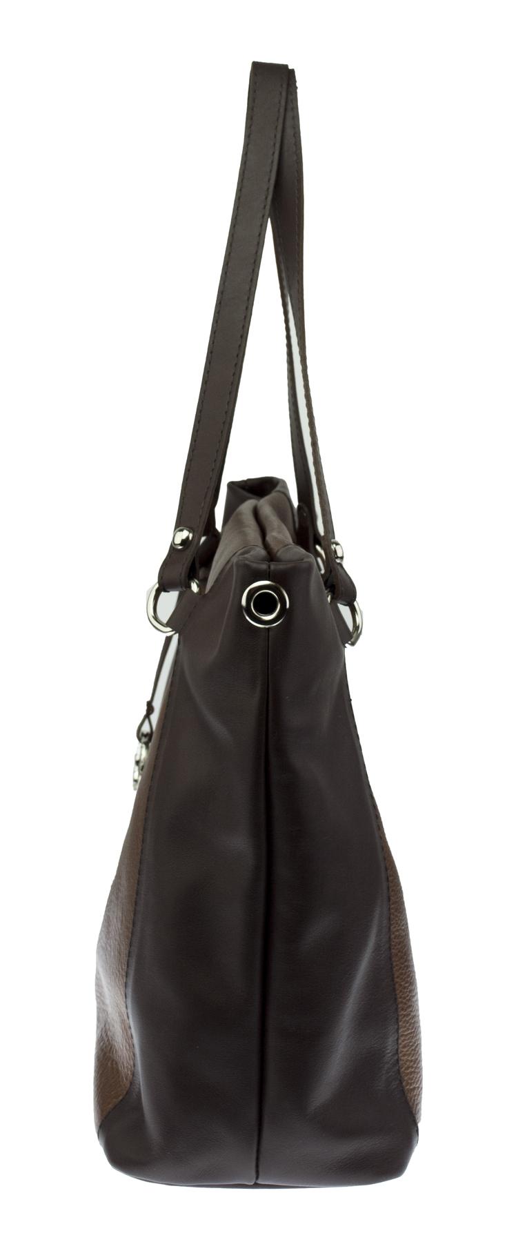 Kožená kabelka FACEBAG ROSA - metalická hněda + tmavě hnědá