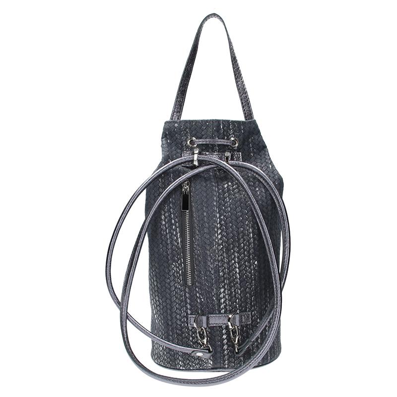 Dámský kožený batoh FACEBAG SUZANNE - Pletené stříbro