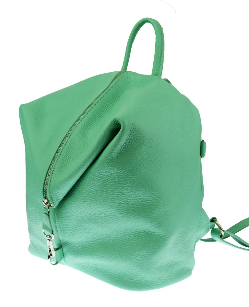 Dámský kožený batoh MASSIMO - světle zelená