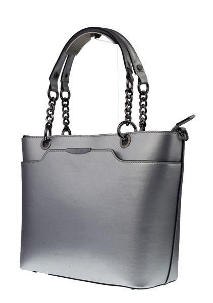 Dámská italská kožená kabelka LEONE - Stříbrná