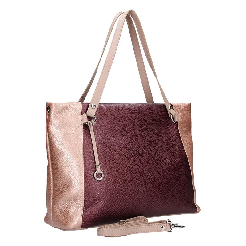 Dámská kožená kabelka FACEBAG Rosa - bordo + pudrová