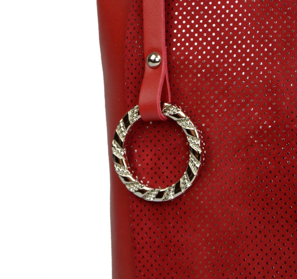 Dámská kožená kabelka FACEBAG  ELIA - Červená perfor