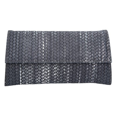 Dámské kožené psaníčko FACEBAG DORA - Stříbrná pletená