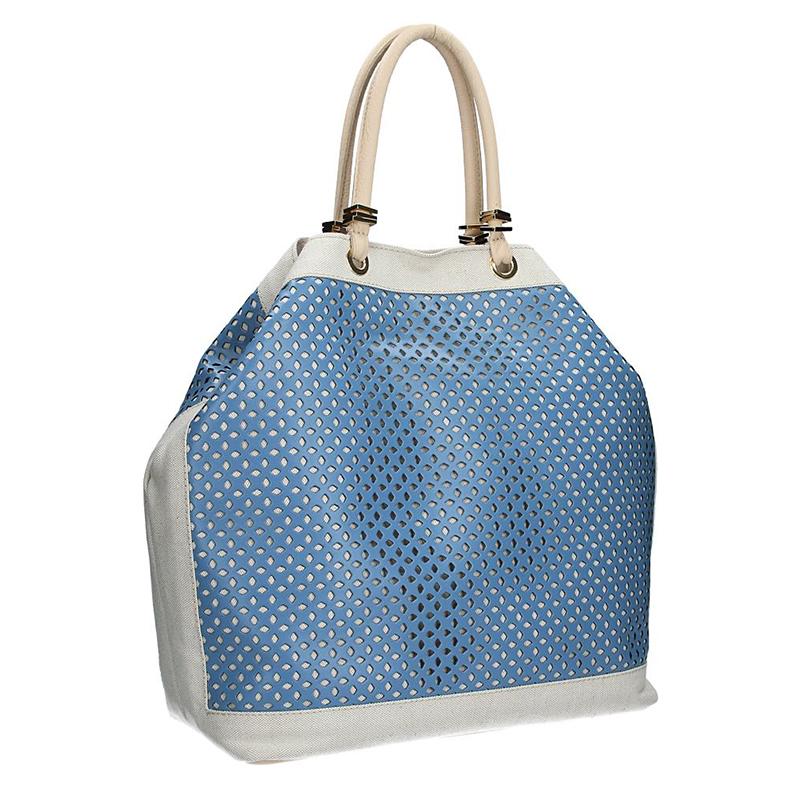 Dámská kabelka FACEBAG SERENA v kombinaci látky a kůže  - Modrá + smetanová