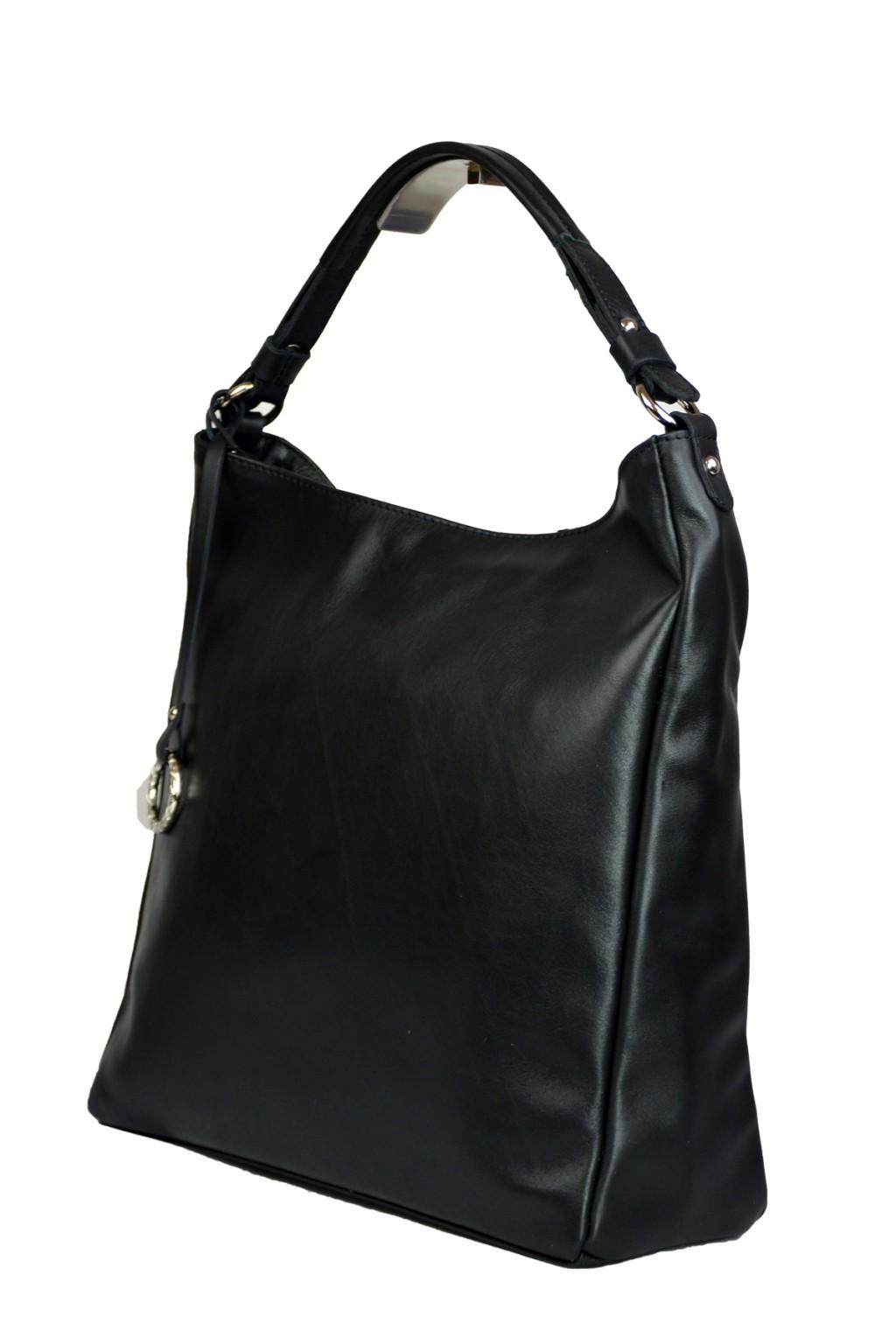 Dámská kožená kabelka FACEBAG  ELIA - Černá hladká