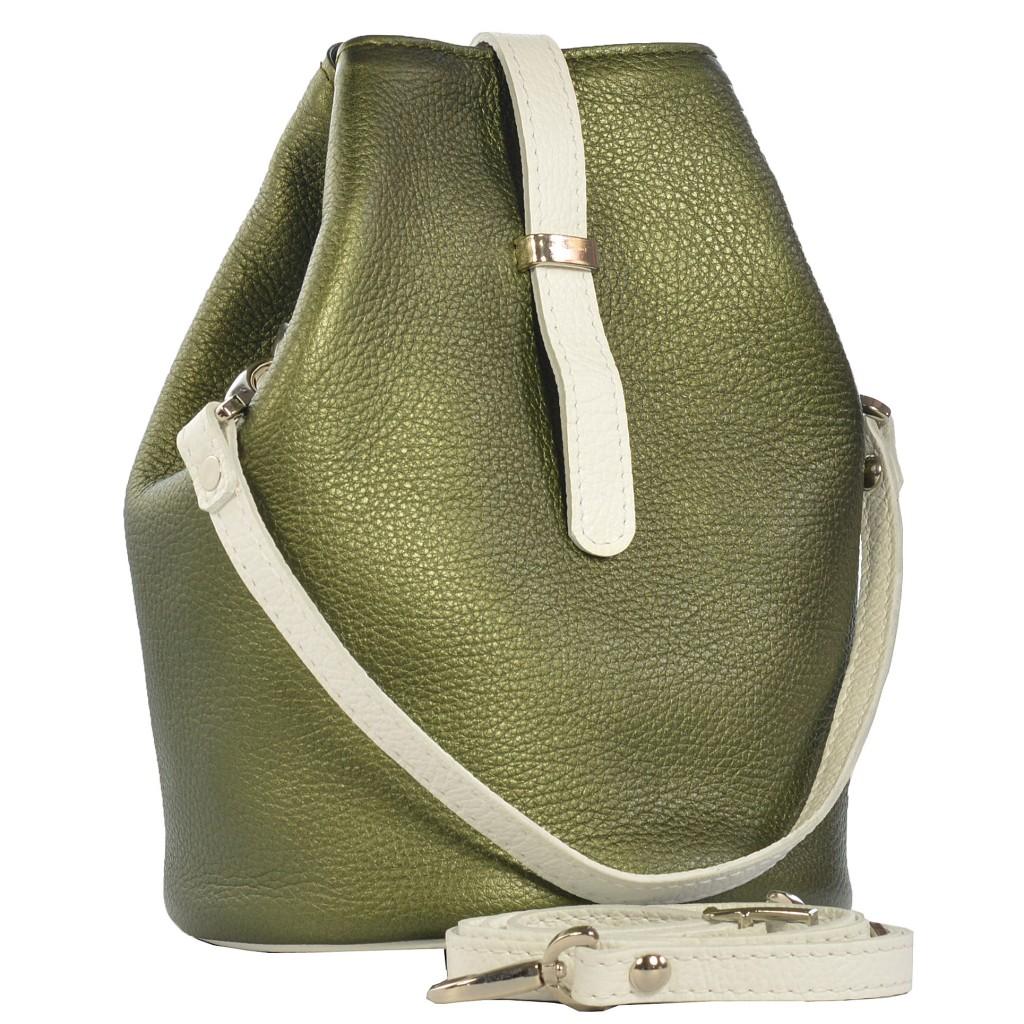 Dámská kožená kabelka FACEBAG KUKY - Zelená